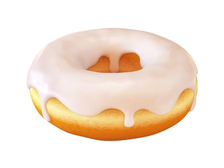 艶をかけられたドーナツ、白いフロスティングドーナツ3Dレンダリング