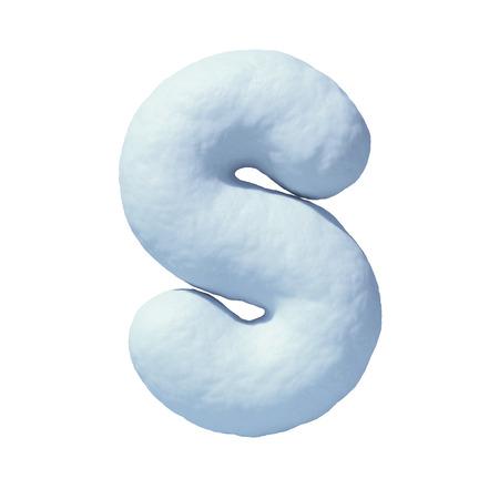 Snow font 3d rendering letter S Stock Photo