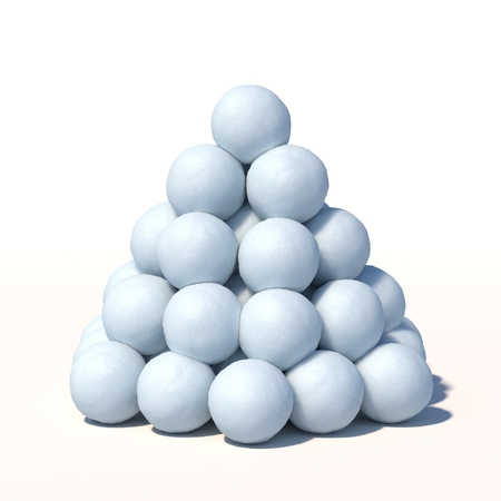 Snowballs heap isolated on white background 3d rendering Stok Fotoğraf