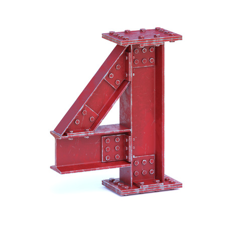Steel I beam font 3d rendering number 4 Stock Photo