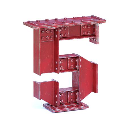 Steel I beam font 3d rendering number 5