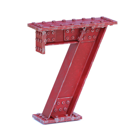 Steel I beam font 3d rendering number 7 Stock Photo