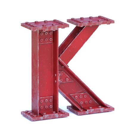 Steel I beam font 3d rendering letter K