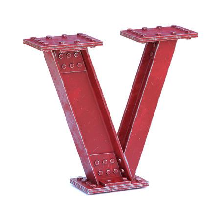 Steel I beam font 3d rendering letter V