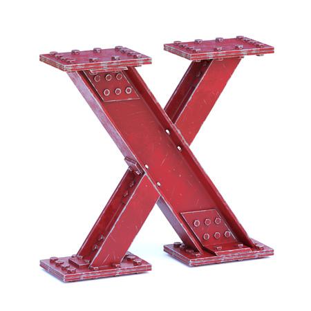 Steel I beam font 3d rendering letter X