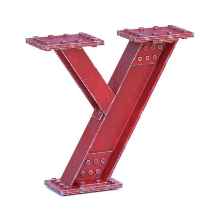 Steel I beam font 3d rendering letter Y