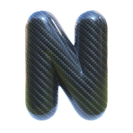 Carbon fiber font letter N  3d isolated illustration