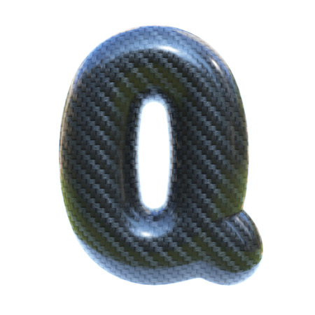 Carbon fiber font letter Q  3d isolated illustration Stockfoto