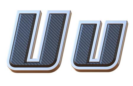 Carbon fiber and metallic font letter U 3D isolated illustration