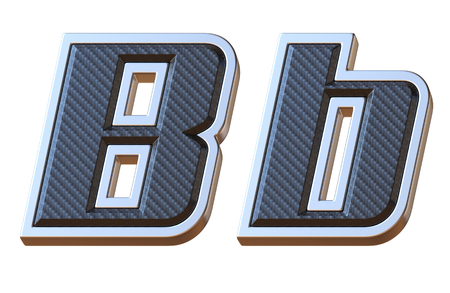 Carbon fiber and metallic font letter B 3D isolated illustration