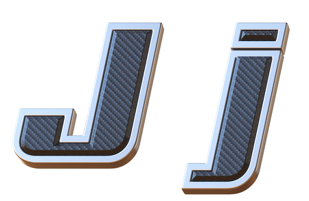 Carbon fiber and metallic font letter J 3D isolated illustration