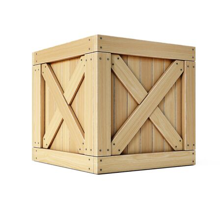 Wooden crate, cargo box isolated on white background 3d rendering