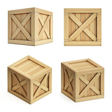 Wooden crate, cargo box isolated on white background 3d rendering icon set
