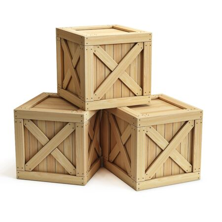 Stack of wooden crates, cargo boxes isolated on white background 3d rendering