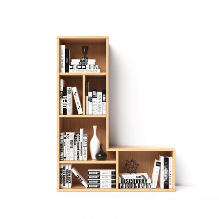 Bookshelves 3d font. Alphabet in the form of book shelves. Mockup font. Letter L,  3d rendering