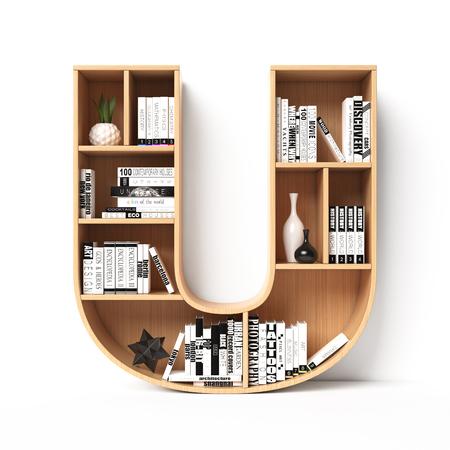 Bookshelves 3d font. Alphabet in the form of book shelves. Mockup font. Letter U,  3d rendering