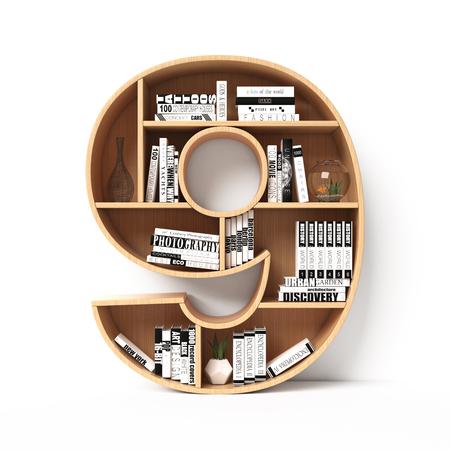 Bookshelves 3d font. Alphabet in the form of book shelves. Mockup font. Number 9 , 3d rendering