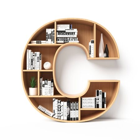 Bookshelves 3d font. Alphabet in the form of book shelves. Mockup font. Letter C 3d rendering Imagens