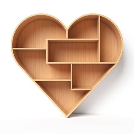 Heart shaped bookshelves, book shelf in the form of heart, love reading concept, 3d rendering Imagens