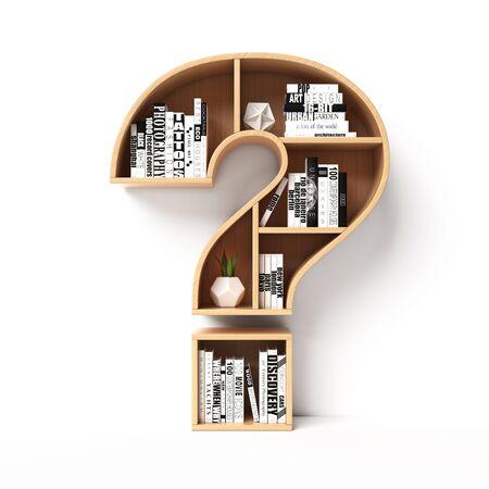 Bookshelves in the shape of question mark, question book shelf concept 3d rendering 版權商用圖片