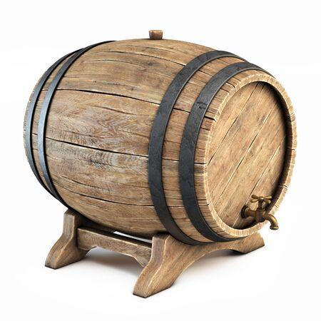 Wooden barrel isolated on white background, wine, beer, alcohol drink storage 3d illustration Reklamní fotografie