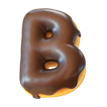 Glazed donut font 3d rendering letter B