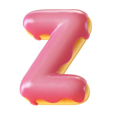 Glazed donut font 3d rendering letter Z
