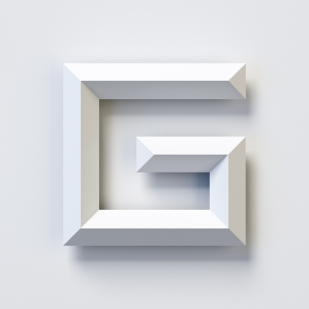 Letter G, square three dimensional font