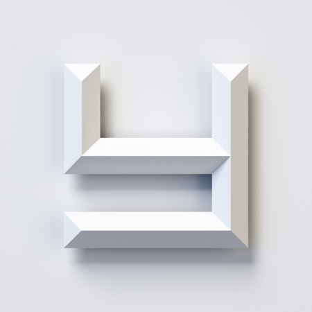 Letter Y, square three dimensional font