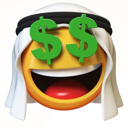 Rich Arab emoji isolated on white background, dollar eyes Arabian emoticon 3d rendering Stock Photo