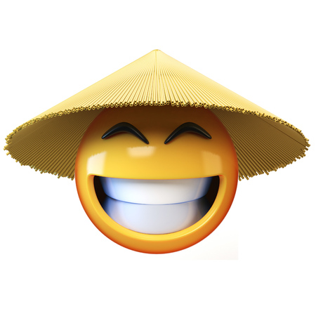 Asian emoji with conical straw hat isolated on white background, Asian emoticon greeting hands 3d rendering