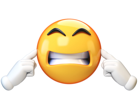 Emoji covering his ears, not listening, isolated on white background, ignoring emoticon 3d rendering
