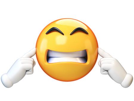 Emoji tapándose los oídos, sin escuchar, aislado sobre fondo blanco, ignorando la representación 3d de emoticonos Foto de archivo