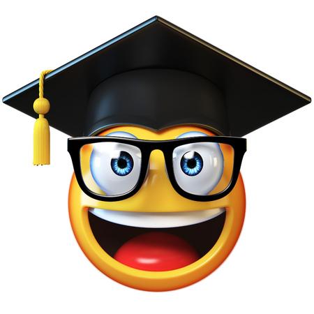 Emoji graduate student isolated on white background,emoticon wearing graduation cap 3d rendering Stock Photo