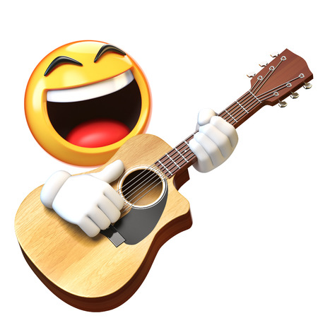 Emoji playing guitar isolated on white background, emoticon guitarist 3d rendering