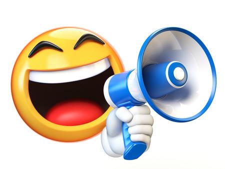 Emoji che tiene altoparlante isolato su priorità bassa bianca, emoticon che tiene il rendering 3d del megafono Archivio Fotografico