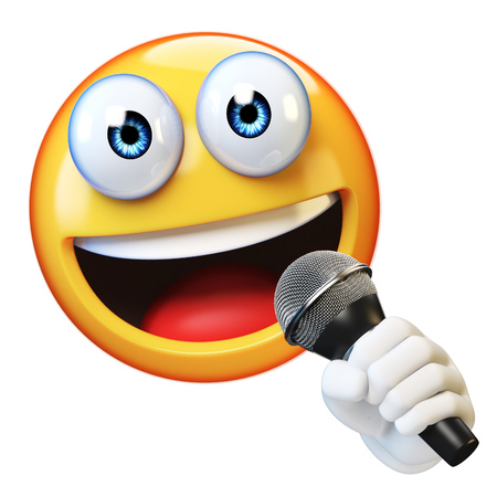 Emoji holding microphone isolated on white background, emoticon singer, reporter, presenter 3d rendering