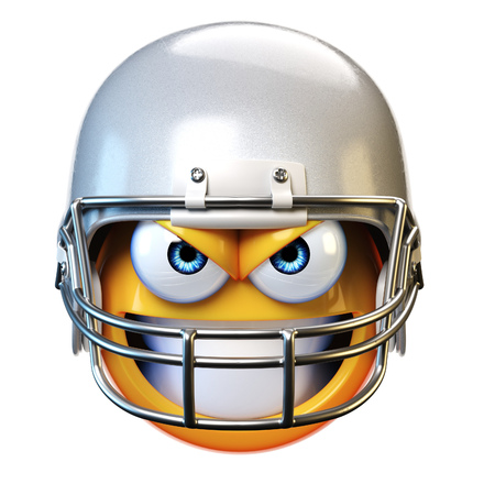 American football emoji isolated on white background, emoticon with football helmet 3d rendering Banco de Imagens