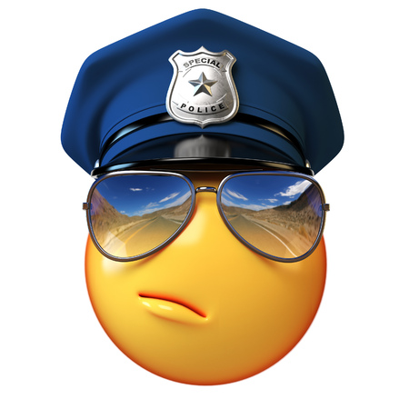 Policeman emoji isolated on white background, cop emoticon 3d rendering