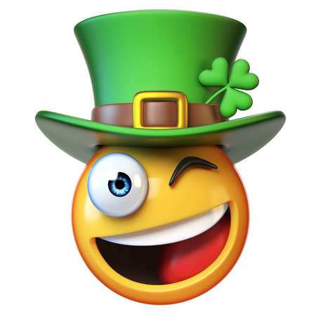 Emoji with green St. Patrick's Day hat with four-leaf clover, Irish emoticon isolated on white background 3d rendering