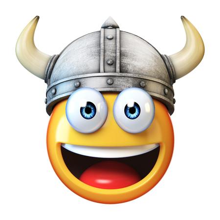 Viking emoji isolated on white background, emoticon wearing Viking helmet 3d rendering
