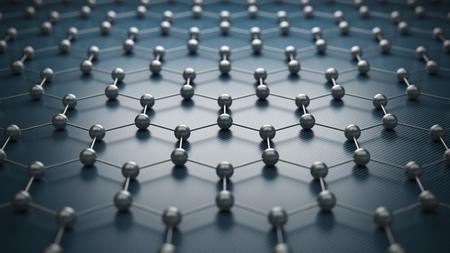 Graphen-Molekülgitter, Graphen-Atomstrukturkonzept, hexagonale geometrische Form, Nanotechnologie-Hintergrund, 3D-Rendering Standard-Bild