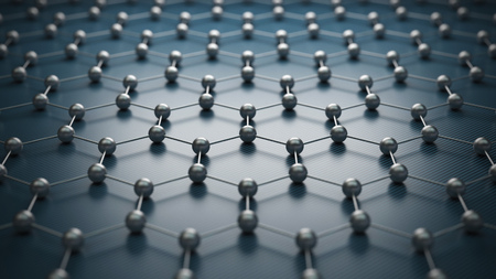 Graphene molecular grid, graphene atomic structure concept, hexagonal geometric form, nanotechnology background, 3d rendering