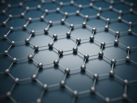 Graphene molecular grid, graphene atomic structure concept, hexagonal geometric form, nanotechnology background, 3d rendering