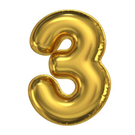 Golden balloon font 3d rendering, number 3
