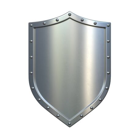 Steel medieval shield, metallic shield, isolated on white background, 3d rendering 写真素材