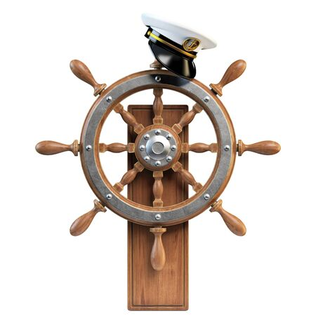 Captain hat on ship wheel isolated on white background 3d rendering