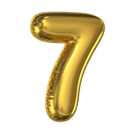 Rendering 3d di carattere palloncino dorato, numero 7