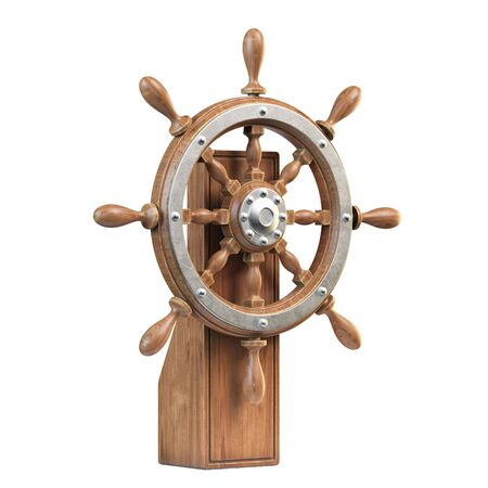 Ship wheel with stand isolated on white background 3d rendering