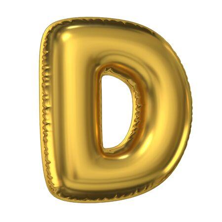 Golden balloon font 3d rendering, letter D Stockfoto